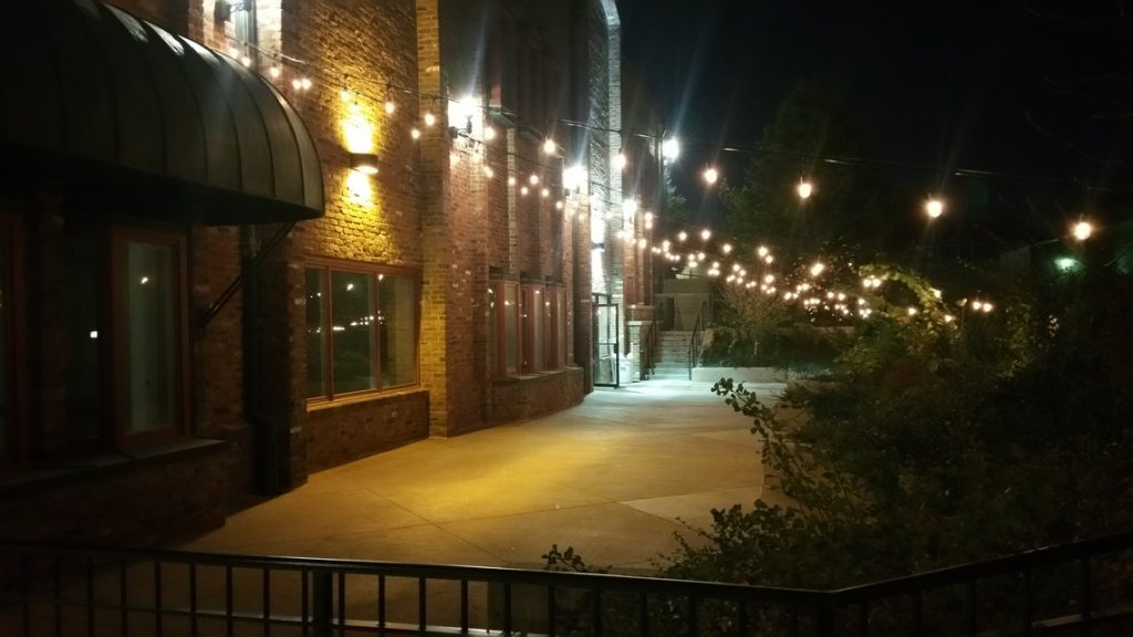 Taproom Outside Event Space at Night